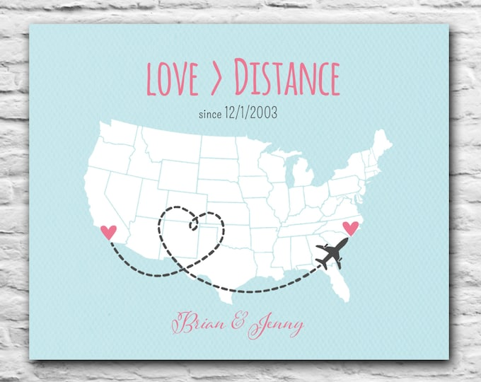 Love is Greater Than Distance, Gift For Boyfriend, Long Distance Love, Military Deployment, Heart State Map, Personalized Gift - 8x10 Fiance