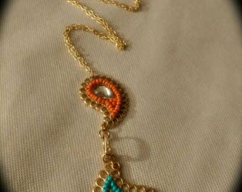 "Chain Necklace - ""Raindrop Fun"" gold toned with colored beads and crystal element pieces."