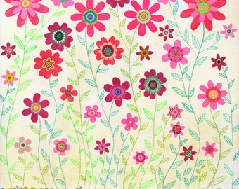 Pink Retro Flowers, Abstract Flower Painting, Modern Wall Decor Art by Sascalia