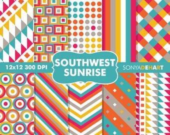 80% OFF SALE Digital Paper Southwestern Aztec Background Patterns