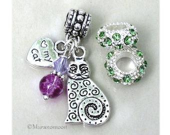 Cat Dangle Charm I Love My Cat Charm fit European Bracelet Birthstone Crystal Large Big Hole Add A Bead Make Jewelry Charm Bracelet #DC1048