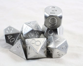 Zucati Dice EleMetal™ - 7pc set  - Aluminum - Natural Silver (S)