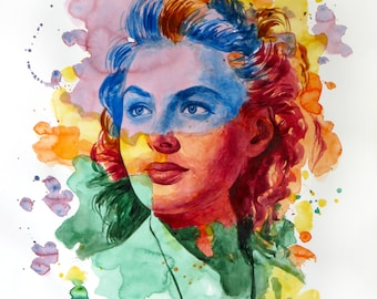 The power of color - Ingrid Bergman  Watercolor portrait Modern style hand-painted