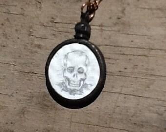 Skull Illustration Halloween Drawing on White Enameled Copper Penny Oxidized Nickel Bezel Pendant Necklace