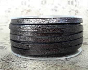 Strip 5 mm flat leather cracked Mocha high European quality