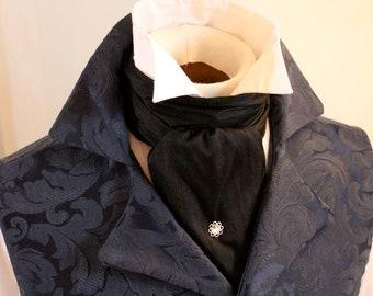 Midnight Black Dupioni Silk REGENCY Brummel Victorian Ascot Tie Cravat