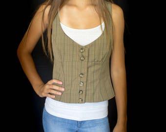Women's fitted 7 button plaid vest