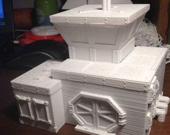 "3D printed wargames/warhammer style terrain ""outpost."""