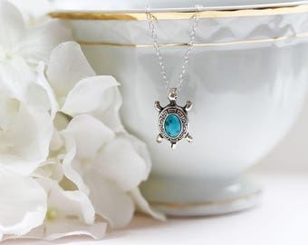Turtle Necklace Turtle Pendant  Sterling Turquoise Turtle Necklace Reptile Jewelry