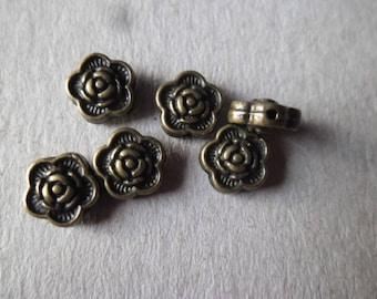 x 50 beads spacer flower pattern bronze 7 x 7 mm