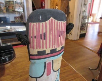"""Child's Kachina Doll , Hopi Pueblo.  Made from Cottonwood Root.  12 3/4"""" Tall"""