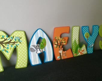 Door plaque name letters 15 cm custom - themed wooden forest animals