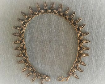 Antique brass anklet with soldered work - brass ankle chain- summer jewelry