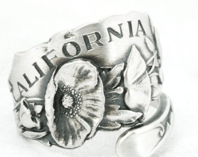 Vintage California Poppy Spoon Ring, California Souvenir in Sterling Silver with Poppy Flowers, Handmade Gift for Her, Custom Ring Size 7096