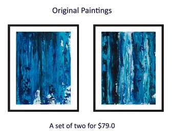 Set of 2 Blue abstract acrylic painting Diptych original art abstract art painting on paper wall art wall decor office decor by qiqigallery
