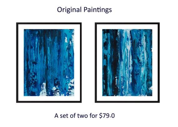 Set aus 2 blaue abstrakte Acrylmalerei Diptychon ursprüngliche