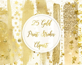 Gold Paint Strokes, Gold Brush Strokes, Digital Brushstrokes, Gold Confetti, Gold Lace Clipart, Gold Logo Clipart, Gold Branding, Commercial