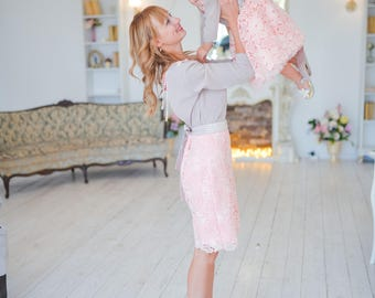 Mommy and Me matching lace dresses, Pink blush Mother daughter matching open back outfits, V open back