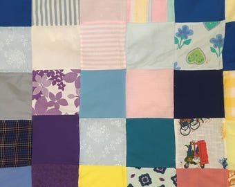 "Handcrafted Patchwork Baby Quilt Lap Quilt Wall Decor 42"" x 42"""
