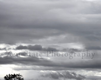 Silver Skies Landscape Print Wall Decor. Gray Clouds Print. Nature Photography. Unframed Photo Print, Framed Wall Art, Canvas Wall Hanging.