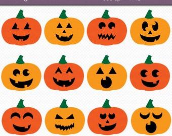 Halloween Jack O Lanterns Digital Art Set Clipart Commercial Use Clip Art INSTANT Download