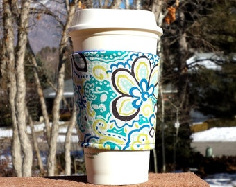 Fabric coffee cozy / coffee cup holder / coffee sleeve / mason jar sleeve / can cozy - Aqua flower print
