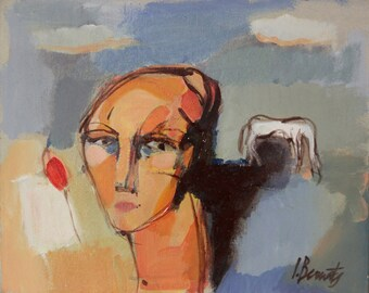 Acrylic painting on cardboard. Original Abstract Art. Woman-II