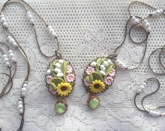 Floral Necklace SET - Set of 2 vintage necklaces - Stocking Stuffer