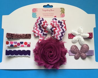 Hair Clip Gift Set 7pc. - Pinks and Purples