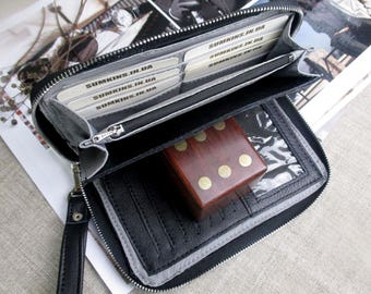 Black Leather wallet zipper around card holders Womens clutch bag Large long wallet phone passport wallet men travel gifts