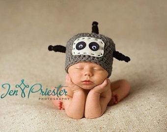 Newborn Hat, Robot Hat, Baby Hat, Baby Photo Prop, Newborn Baby Hat, Photography Prop