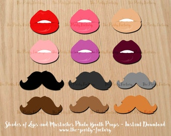 Shades of Lips and Mustaches Photo booth Props clipart Instant Download