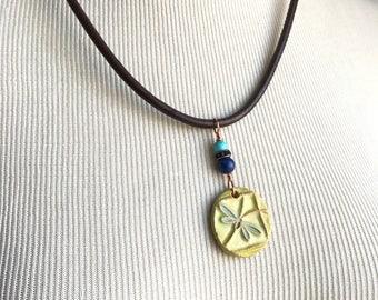 Dragonfly ceramic pandant bullet necklace