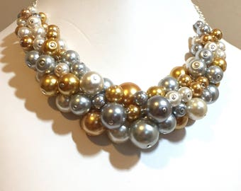 """Pearl Cluster Necklace """"Silver and Gold"""" - Gold, Gray and Silver- Chunky, Choker, Bib, Necklace, Wedding, Bridesmaid, Prom, SRAJD, Custom"""