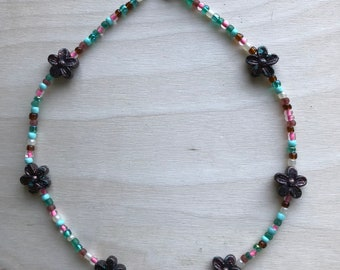 Beaded Flower Choker