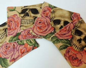 Skulls and Roses handmade Drink Coasters  set of 4 R-S-4 Tea and Pink, Day of the Dead, Dia De Muertos