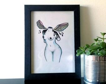 ORIGINAL . Bird . Girl . Body . Illustration