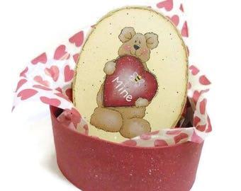 Valentine Bear Candy Box | Tole Painted Paper Mache Valentine Box