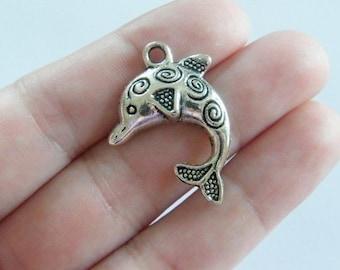 5 Dolphin pendants tibetan silver FF84
