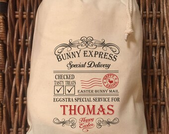 Personalised Bunny Express Easter Gift Bags Various Sizes  - Thomas Design