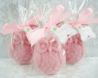 Owl Soap Favors - Your Color - Shower Favors - Watercolor Tag