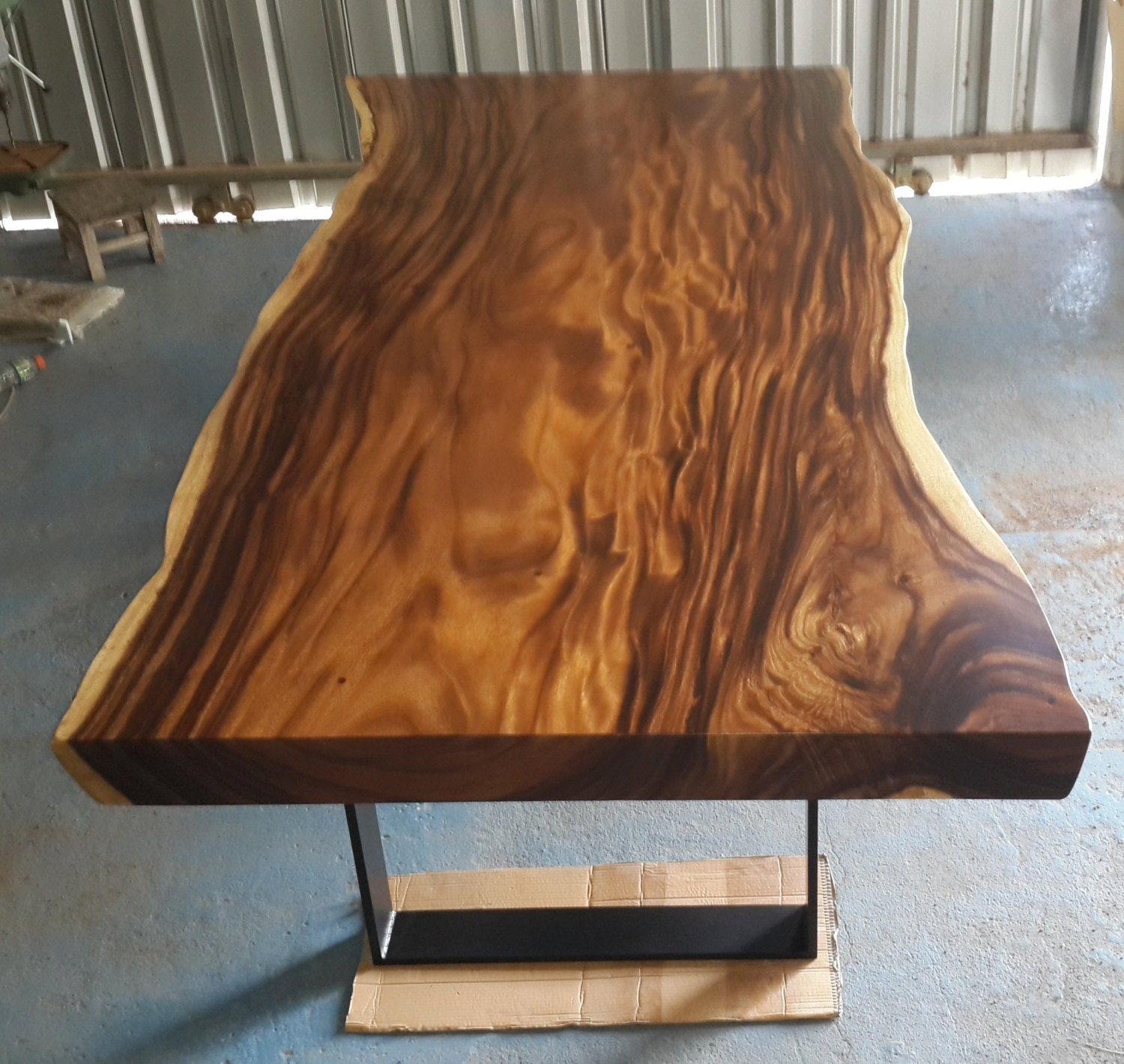 Reclaimed Wood Coffee Table Stainless Steel Legs: Live Edge Dining Table Reclaimed Acacia Wood Solid Slab