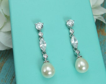 Long Pearl Earrings, pearl bridal earrings, cubic zirconia earrings, wedding jewelry, wedding earrings, Edith Pearl Earrings