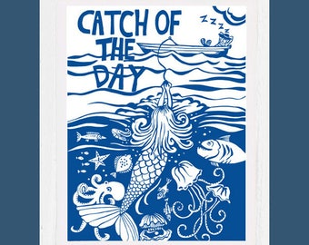 Catch of the day, art print, signed, mounted