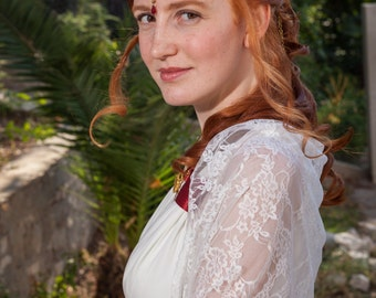 Wedding Shrug, Bridal Bolero Ivory Lace Cover Up With 4 Wearing Ways- Shrug, Shawl, Crisscross Or Scarf. Fantasy Wedding, Fairytale Bride