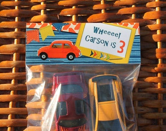 Boy Birthday Party Favors Third Birthday Personalized Treat Bags Birthday Favora 3rd Toy Car Birthday Party Tops-Gift Bags - Qty 12