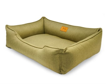 Eco-friendly large dog bed / Dreamer Olive Cozy Washable Cushion For Puppy / Removable cover green bed for weimaraner