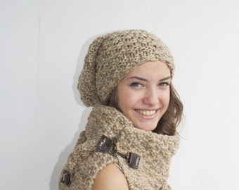 Hand Knitted Milky Brown Effect Scarf / Knitted Scarf and  Beaine Oversized, Chunky Knit, Winter, Cozy Scarf, Women's Gifts, Leather link