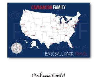 Ballpark Map, Baseball Park Push Pin Map, Ballparks Sports Map, Sports Push Pin Map, Baseball Map, Baseball Bucket List / H-I25-1PS AA4 REG1