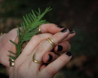 Hammered Tree Bark Knuckle Ring